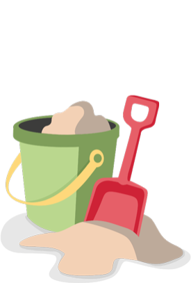 Illustration of a shovel and pail filled with sand