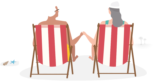 Graphic of retired couple lounging on the beach