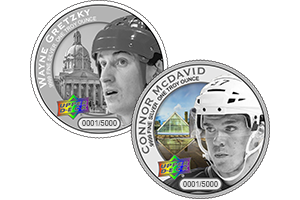 Connor McDavid and Wayne Gretzky coins
