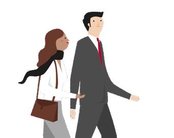 Illustration of a woman walking and talking with an investment professional