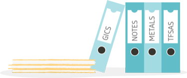 "Illustration of four binders labelled ""GICs"", ""Notes"", Metals"" and ""TFSAs"""