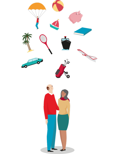 Illustration of a mature couple, looking upward at items representing their retirement plans: travel, sports, education, sailing, parachuting