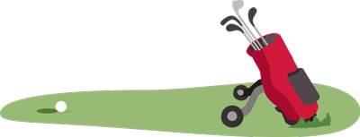 Illustration of golf caddy and golf clubs on putting green