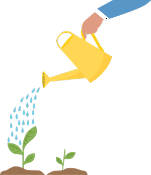 Illustration of a hand using a watering can on a small plant