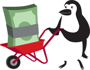 Percy Penguin pushing wheelbarrow full of cash