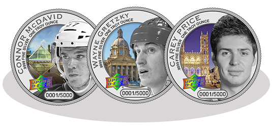 Connor McDavid, Wayne Gretzky and Carry Price silver basic finish coins