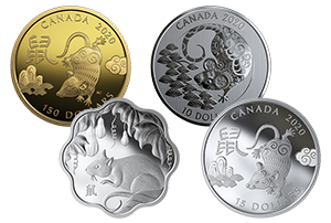 18-karat gold Year of the Rat coin; 99.99% pure silver Year of the Rat coin featuring a rat jumping among the branches of a pine tree; a silver lotus-shaped Year of the Rat coin; and pure silver Year of the Rat coin featuring the amiable and crafty rat