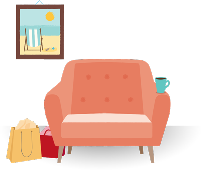 Illustration of shopping bags next to an armchair, and a beach vacation photo on the wall behind it