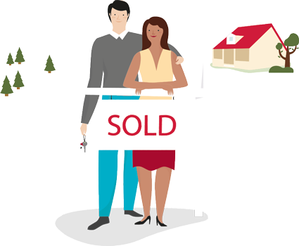 Illustration of a happy couple standing behind a sold sign and a house behind them
