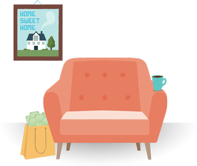 Illustration of a cozy chair and home sweet home picture on the wall