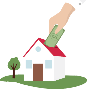 Illustration of hand inserting money into a slot on the roof of a house