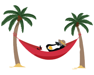 Percy in a hammock between two palm trees