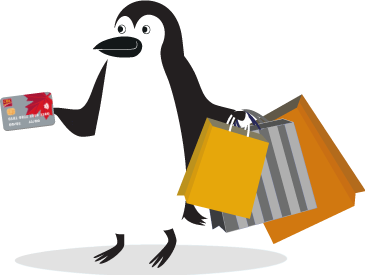 Percy Penguin holding a CIBC Smart Prepaid Visa Card in one hand and shopping bags in the other.