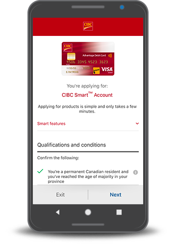 Smartphone with the CIBC Smart Account application form