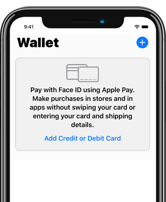 Wallet App showing the option to add a credit or debit card