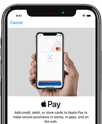 On-screen instructions for using Apple Pay