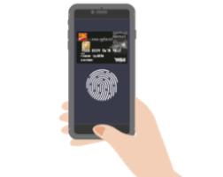 A hand holding an iPhone showing Apple Pay and a CIBC credit card