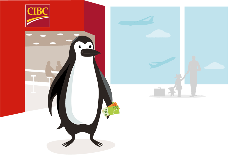 Percy Penguin gets foreign currency at Pearson Airport