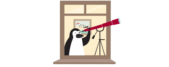 Percy Penguin looking through a telescope
