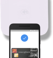A phone screen displaying payment with Android Pay.