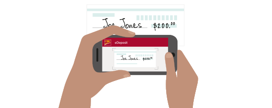 a CIBC client using eDeposit to take a picture of their cheque