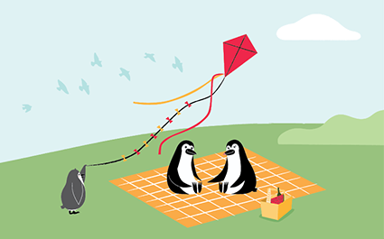 Percy Penguin and his family having a picnic in a park.