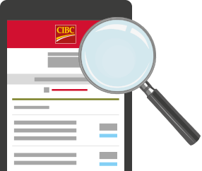 Tablet showing CIBC Mobile Banking with a magnifying glass over it