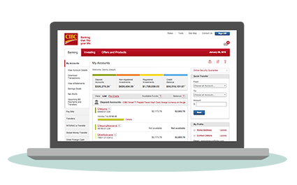 Computer screen shows CIBC Online Banking