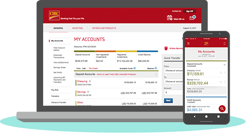 Smartphone and desktop screens displaying online banking