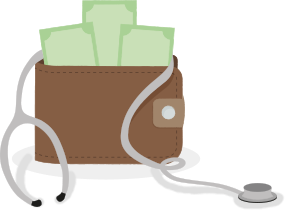 Doctor's stethoscope wrapped around a money-filled wallet