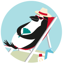 Percy Penguin relaxing in a lounge chair