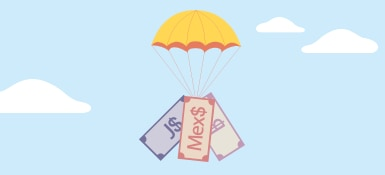 Cash attached to a parachute.