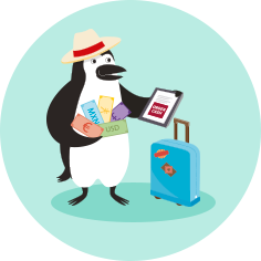 Percy Penguin Picks Up Foreign Cash At The Airport