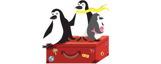 Percy Penguin and his family float on a suitcase in the sky
