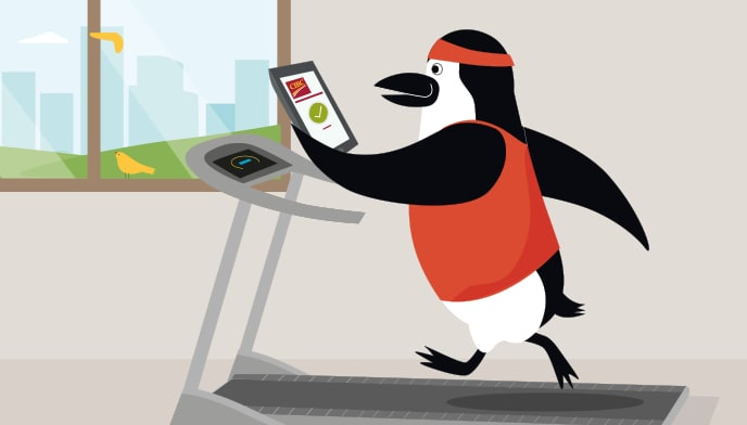 Percy Penguin runs on a treadmill while looking at his smartphone with the CIBC Mobile Banking app open