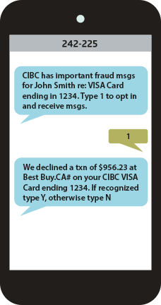 Smartphone screen shows valid CIBC fraud alert text