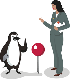Percy Penguin standing next to a location marker speaking to an advisor.