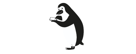 Percy Penguin banks on his tablet