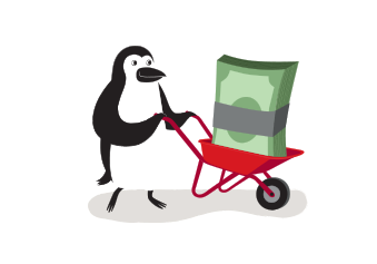 Percy Penguin driving a wheelbarrow filled with cash