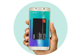 Person holding a Samsung phone displaying the Samsung Pay screen