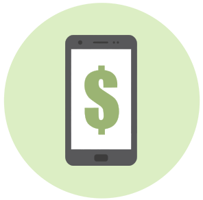 Mobile phone displaying a dollar sign.