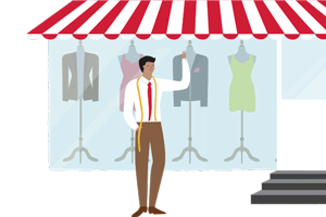Illustration of a tailor standing in front of his storefront window