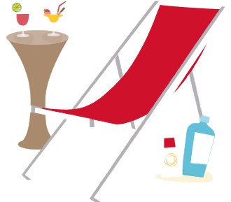 Beach chair with sunblock and beverages