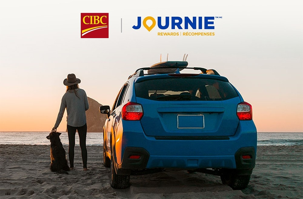 CIBC logo and Journie Rewards logo. A woman stands beside her car on a beach