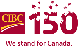 CIBC logo and the number 150 covered in maple leaves. We stand for Canada.