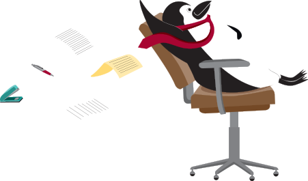 Percy Penguin flying through the air in an office chair