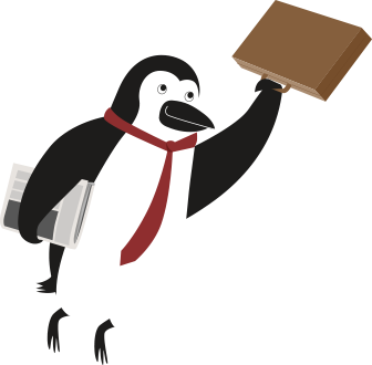 Percy Penguin holding on to a briefcase that's flying away