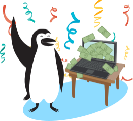 Dollar bills flying out of Percy Penguin's computer screen