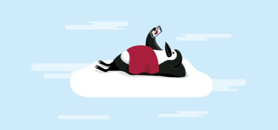 Percy Penguin resting in the clouds