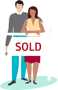 Happy home buyers stand next to real estate sign